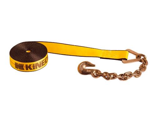 """Winch Strap - 2"""" x 30' - w/ Chain & Hook - KIN 223039"""