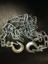 Safety Chain - 7MM x 72'' - 1/4'' Clevis Hooks w/ Latches - 5,200#
